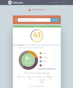 Headline Analyzer screen 1